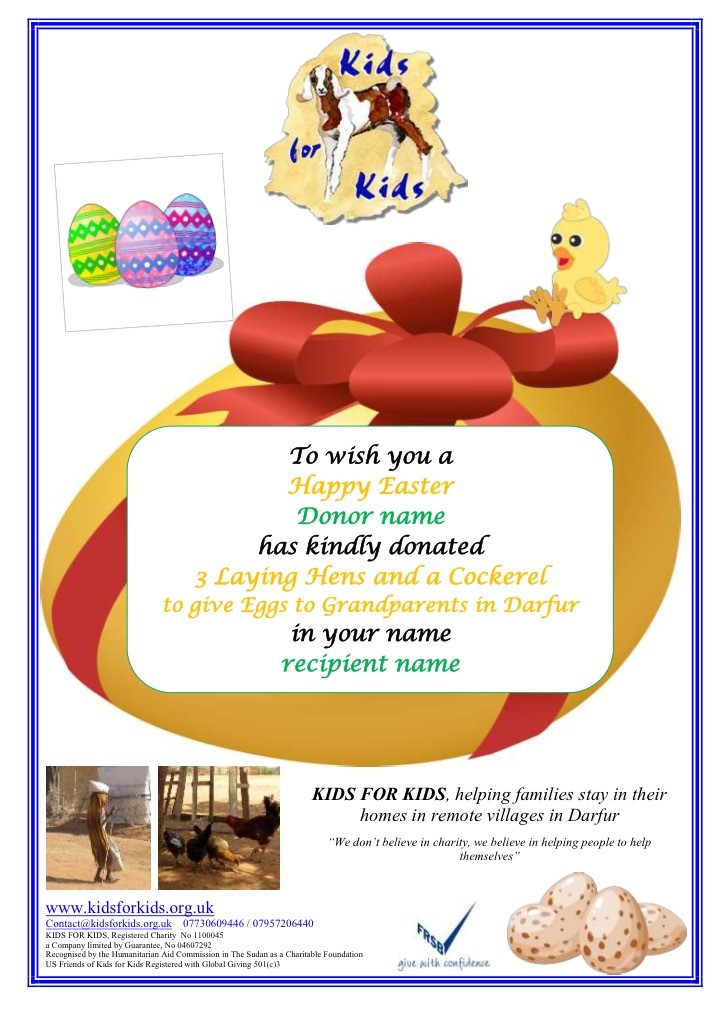 Give a chicken not an egg this easter kids for kids easter gift certificate chickens negle Image collections